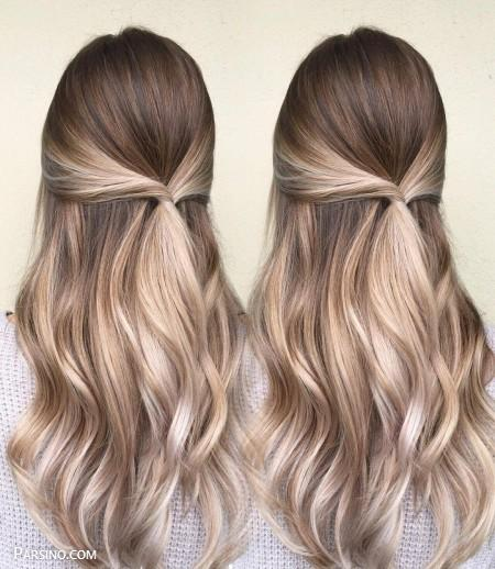 رنگ مو , رنگ موی زنانه , رنگ مو 2018 , رنگ مو کاراملی از نمای پشت