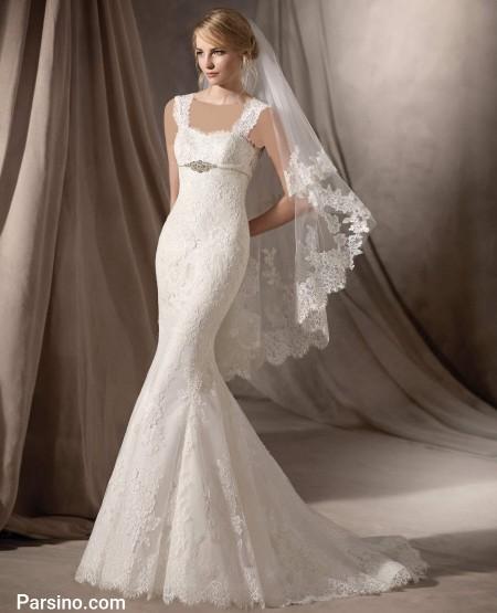 مدل لباس عروس دو بنده حریر و گیپور